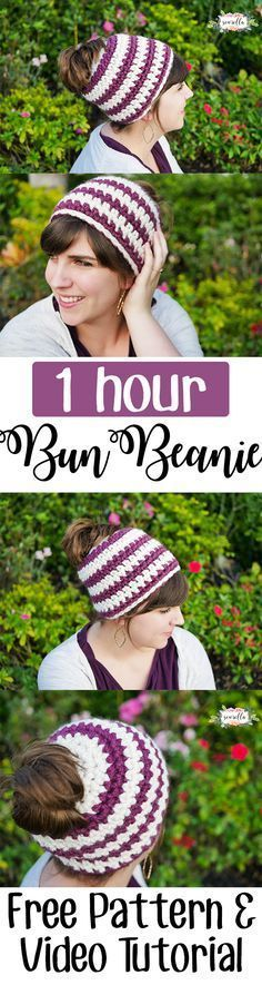 Make this beginner friendly crochet messy bun or mom bun beanie in 1 hour with simple single crochet stitches!