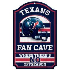 Houston Texans Fan Cave Wood Sign
