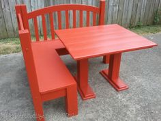 My Repurposed Life-Red Kid's Corner Bench and Table Tutorial... Berço se transforma em banco em L...