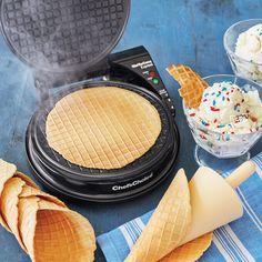 Check out Gourmet Waffle Cone Recipe recipe and more from Sur La Table! Waffle Cone Recipe Without Maker, Waffle Cone Maker, Ice Cream Waffle Cone, Waffle Maker Recipes, Waffle Cones, Pancake Recipes, Breakfast Recipes, Frozen Desserts, Fun Desserts