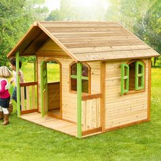 Great size Outdoor Playhouse for kids with a front porch, providing hours of fun and play for kids and toddlers. 100% FSC cedar wood