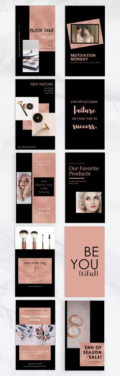 Invest in these beautifully designed and professional-looking rose gold Instagram story templates that will impress your followers. This branding kit is ideal for bloggers, small business owners, entrepreneurs, content creators and marketing and social media managers. Perfect for use as content for emails, websites and blogs. Instagram Story Template, Instagram Story Ideas, Graphic Design Tools, Tool Design, Creative Brochure, Brochure Design, Brochure Template, Lash Quotes, Social Media Quotes