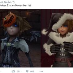 KingdomHearts More ---> Togami Zen: I can relate to this on so many levels. I love Halloween but as do as it's over, I start with the Christmas carols. Kingdom Hearts Meme, Art Jokes, The Evil Within, Disney And Dreamworks, Disney Art, Final Fantasy, Saga, Video Games, Fandoms
