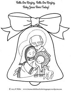 Bells Are Ringing Nativity Christmas Coloring Page From The SongBells