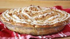 Cinnamon roll crust, cinnamon roll on top, Dutch apple filling in between... BEST. PIE. EVER.