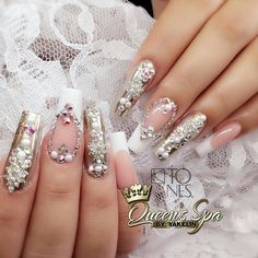 Amazing nail art made using tones products tones - nail art Swarovski Nails, Rhinestone Nails, Bling Nails, Acrylic Nail Art, Acrylic Nail Designs, Nail Art Designs, Beautiful Nail Designs, Beautiful Nail Art, Fabulous Nails