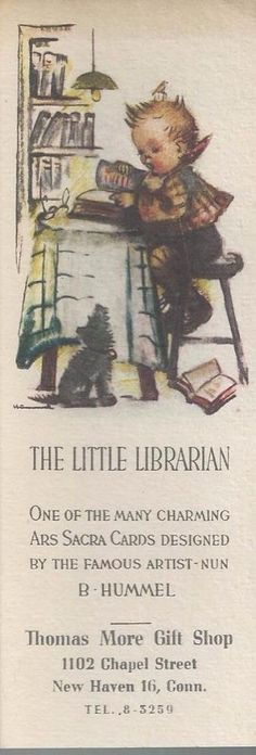 THE LITTLE LIBRARIAN BOOK MARK THOMAS MOORE GIFT SHOP, NEW HAVEN, CONN