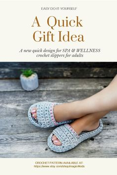 A brand new.  original & quick design for SPA & WELLNESS SLIPPERS for adults. An EASY DO-IT-YOURSELF crochet pattern project, also a great idea for gifts. Crochet pattern available at: https://www.etsy.com/shop/magic4kids