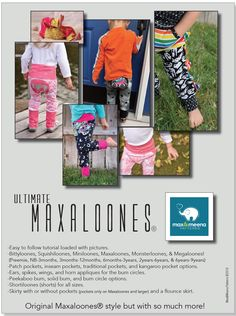 Maxaloones (Ultimate Maxaloones) Sewing PDF Pattern by Max and Meena Sewing Patterns For Kids, Pdf Patterns, Sewing For Kids, Baby Patterns, Sewing Ideas, Baby Sewing Projects, Fun Projects, Sewing Crafts, Sewing Studio
