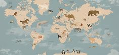 World Map Wallpaper for Jacobo's bedroom