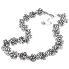 DaVonna Silver Grey FW Pearl 18-inch Cluster Necklace