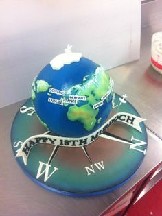 Murdochs World - Cake by Kevin Martin Map Cake, Globe Cake, Earth Cake, Planes Cake, Cake Pictures, Cake Pics, Cake Eater, Cake Decorating Videos, Decorating Ideas