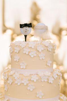 #cake-toppers, #golf Photography: U Me Us Studios - umeusstudios.com Read More: http://www.stylemepretty.com/california-weddings/2014/05/21/elegant-blush-gold-wedding-at-the-fairmont/