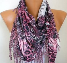 Pink Leopard Scarf   Cowl  Scarf with Lace Edge  by fatwoman, $19.00