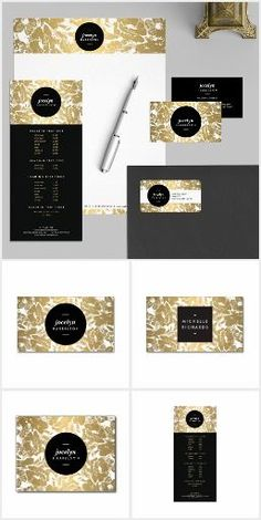 Get your business up and running right away with our gold floral design suite. Available to personalize on business cards, rack cards, stationery, letterhead, office supplies, craft supplies and more. Perfect for interior designers, stylists, salons, boutiques and more. Designed by 1201AM.