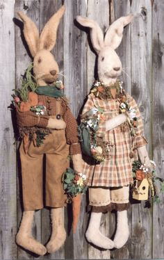 Primitive E-PATTERN Prim Bunnies Welcome Spring by HappyHeartPatterns on Etsy https://www.etsy.com/listing/270766090/primitive-e-pattern-prim-bunnies-welcome