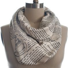 This scarf with text from a favorite book is a quirky gift idea for friends who love to read.