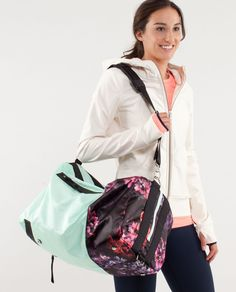 New year. New workout gear. Do It Up Duffel in Mint Moment / Spring has Sprung Multi by Lululemon.