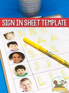 Printable Sign In Sheet Template Freebie. Perfect for establishing a morning routine in your preschool or Pre-K classroom Preschool Names, Preschool Writing, Preschool Lessons, Preschool Classroom, Literacy Activities, Preschool Sign In Ideas, Classroom Ideas, Preschool Attendance Ideas, Preschool Center Signs