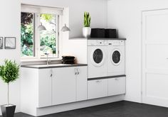White Laundry Rooms, Modern Laundry Rooms, Laundry Room Layouts, Wood Bathroom, Laundry In Bathroom, Small Bathroom, Landry Room, Laundry Room Inspiration, Laundry Room Design