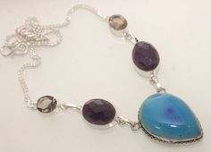 LOVELY LACE AGATE-PURPLE AMETHYST-SMOKY QUARTZ 925 STERLING SILVER NECKLACE S807 #925silverpalace #Charm