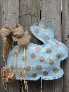 Pâques...Burlap Door Hanger Bunny with Tail in Blue by nursejeanneg