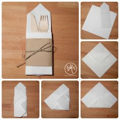 Servietten zur Bestecktasche falten / how to fold a napkin cutlery bag…