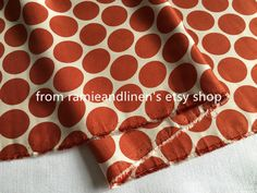 "silk fabric, orange polka dots print silk cotton blend fabric  This listing is for half yard (18"" by 53"" wide)  the doily lace is about 15cm accross  about 115g per meter    if you purchase more it will be in one piece  *Please be reminded that real color may look different from the pictures because of the camera, light and monitor...,which should not be a reason for non-positive feedback.  *Tiny imperfections may exist but don't take away from the overall quality of the fabric...."