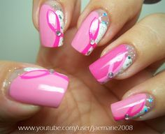 Breast Cancer Awareness Nail Design - Nail Art Gallery by NAILS Magazine check out www.ThePolishObsessed.com for more nail art ideas.