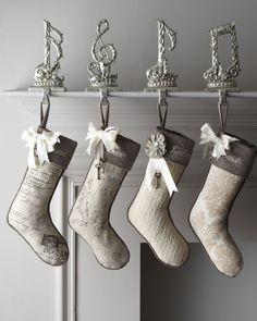 Noel French Laundry Home Joyeux Christmas Stockings - (seasonal home decor, holiday hanging decorations)