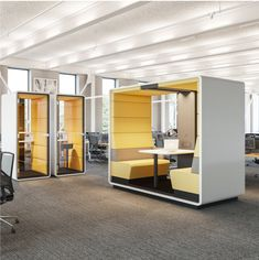 Hush Open Booth | acoustic meeting pod | My Office Pod Modern Office Design, Office Interior Design, Office Interiors, Open Concept Office, Open Space Office, Office Lounge, Office Seating, Workspace Design, Office Workspace