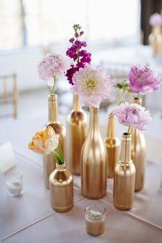 wedding centerpieces flowers bottles sara and rocky