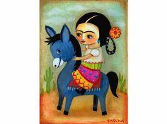 Little Frida Kahlo on donkey - tascha on etsy