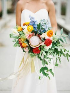 vibrant, yellow, pink, blue and red bouquet