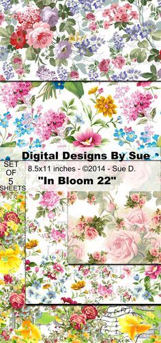 In Bloom 22 Paper Pack   Printable Digital Collage Sheets