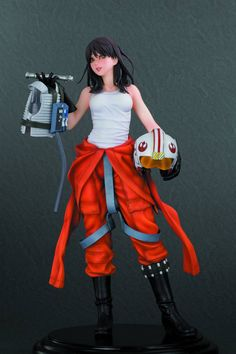A skilled #pilot and member of the illustrious New Republic Rogue Squadron, Jaina Solo strikes a casual pose in her iconic orange flight suit, the same outfit worn by pilots for generations (including Luke #Skywalker in the Battle of Yavin). But the pretty young Jedi puts her own spin on the uniform, wearing it stripped down to the waist to reveal her tank top. Meanwhile, Jaina holds her helmet in one hand and her flight vest and lightsaber in the other.