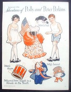 Magazine Paper Doll Polly Peter Perkins Pictorial Review 1933 Fourth of July | eBay