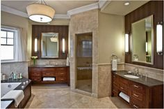 double vanity & corner shower – love this! one thing i will not do without is a huge master bathroom! i demand it! Tuscan Bathroom, Master Bathroom, Bathroom Vanities, Master Baths, Bathroom Showers, Bathroom Cabinets, Wood Cabinets, Bathroom Storage, Dream Bathrooms