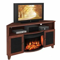 Furnitech Tucker Corner Electric Fireplace Entertainment Center In Dark Cherry…