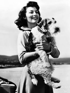 Más belleza junta, imposible: Ava Gardner with a fox terrier in arms. Fox Terriers, Chien Fox Terrier, Wire Fox Terrier, Animal Hugs, My Animal, Ava Gardner, Wire Haired Terrier, Vintage Dog, Black White