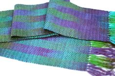 Striped Handwoven Scarf  Green and Purple by ThornFiberArts, $65.00