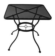Garden Treasures Heavy-Duty Steel Frame with Black Powder-Coated Finish Square Bistro Restaurant Patio Outdoor Dining Table with Umbrella Hole, x Round Outdoor Dining Table, Outdoor Table Tops, Steel Dining Table, Square Dining Tables, Patio Tables, Outdoor Living, Patio Bar, Patio Dining, Outdoor Cafe