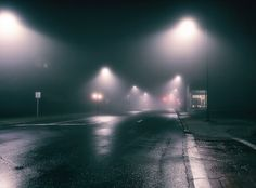 Fog is rare in my little city, so when it does roll in I tromp around shooting like a kid in a candy store. Urban Movies, Maggie Stiefvater, Broken Mirror, 3d Photo, Urban Photography, Writing Inspiration, Night Time, The Magicians, Raven