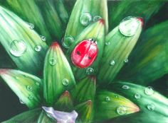 """How to paint Drops in oil """"Ladybug"""""""