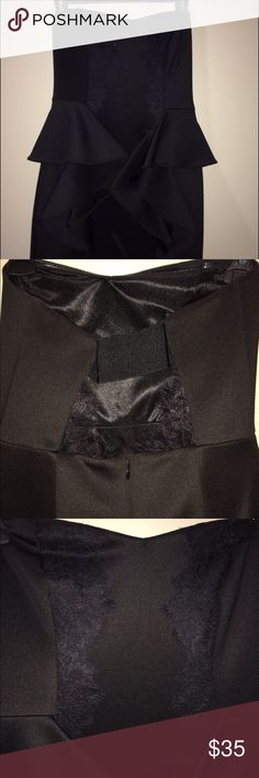 BCBG Black Strapless with lace cocktail dress Only worn once! Very cute ruffle design that's flattering BCBGeneration Dresses Mini