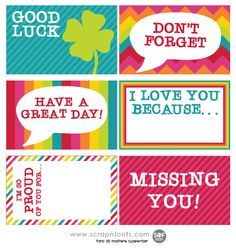 FREE Fontaholic: FREEBIE FRIDAY: Rainbow Lunch Box Notes
