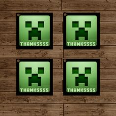 MINECRAFT Creeper Favor Tags - Minecraft Birthday Party - INSTANT DOWNLOAD