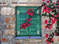 Beautiful old greek shutters,
