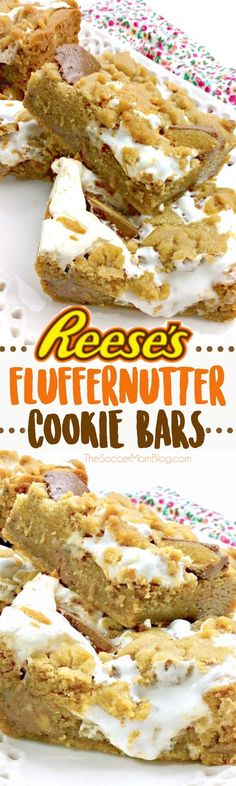 An irresistable combination of peanut butter, chocolate, and creamy marshmallow fluff — Reese's Fluffernutter Bars take the ooey-gooey dessert game to the next level! #peanutbutter #dessert via @https://www.pinterest.com/soccermomblog
