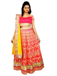Hot Pink and Yellow Bridal Heavy Lehenga